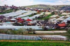 Lavoro di campo nelle zone rurali di Transcarpathia nella primavera in Fotografia Stock