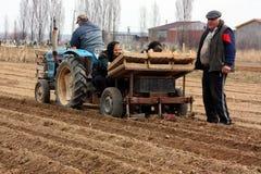 Lavoro di campo nelle zone rurali di Transcarpathia nella primavera Fotografia Stock Libera da Diritti