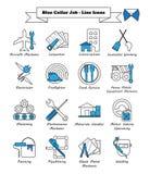 Lavoro di collare blu - linea icone Fotografia Stock Libera da Diritti