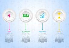 Lavoro di gruppo al modello, all'insegna, all'opuscolo e ad altro di infographics di affari di scopo illustrazione di stock