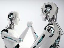 Lavoro di gruppo degli uomini di androide del robot illustrazione di stock