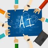 Lavoro di gruppo del lavoro dell'università di ricerca di istruzione di informatica di intelligenza artificiale di AI insieme Immagine Stock