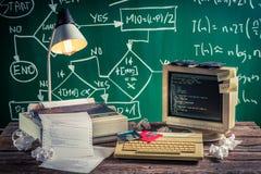Lavoro di programmazione nel laboratorio del computer Immagini Stock