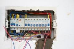 Lavoro di ristrutturazione elettrico, materiale elettrico industriale immagini stock libere da diritti