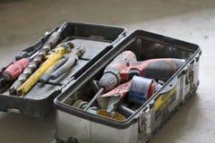 Lavoro di ristrutturazione elettrico, molti attrezzi per bricolage Immagini Stock Libere da Diritti
