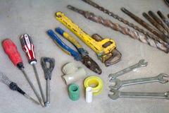 Lavoro di ristrutturazione elettrico, molti attrezzi per bricolage Immagine Stock Libera da Diritti