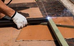 Lavoro di saldatura per acciaio Fotografie Stock