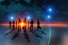 Lavoro di squadra, affare globale e concetto di media illustrazione di stock
