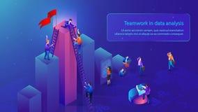 Lavoro di squadra di affari nel concetto di vettore di analisi dei dati illustrazione vettoriale