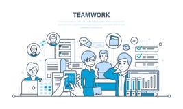 Lavoro di squadra, comunicazione e scambio di informazioni importanti, dialoghi, spazio di flusso di lavoro illustrazione di stock