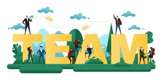 Lavoro di squadra cooperativo La gente dell'ufficio costruisce insieme il gruppo di parola Progetto astratto di affari di concett illustrazione vettoriale