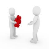lavoro di squadra di colore rosso di puzzle degli uomini 3d Immagine Stock
