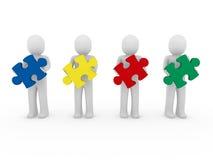 lavoro di squadra di puzzle degli uomini 3d Immagini Stock Libere da Diritti