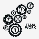 Lavoro di squadra e progettazione degli ingranaggi Immagini Stock