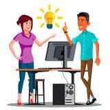 Lavoro di squadra, impiegati che parlano alla Tabella con un vettore bruciante della lampadina soprattutto Illustrazione isolata illustrazione vettoriale