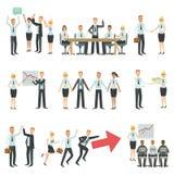 Lavoro di squadra in Infographic di processo e di costruzione del lavoro di affari Immagine Stock Libera da Diritti