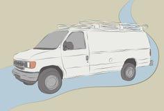 Lavoro disegnato a mano sudicio Van Sketch Immagine Stock Libera da Diritti