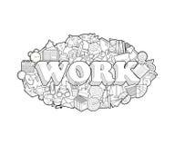 Lavoro - iscrizione della mano e schizzo degli elementi di scarabocchi Illustrazione di vettore Royalty Illustrazione gratis