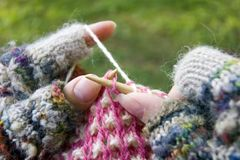Lavoro a maglia Fotografia Stock