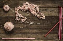 Lavoro a maglia, cucire, crochet e merletto Fotografie Stock Libere da Diritti