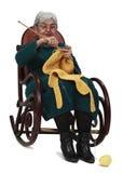 Lavoro a maglia dell'anziana Fotografia Stock