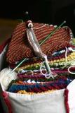 Lavoro a maglia della coperta Fotografie Stock Libere da Diritti