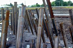 Lavoro in metallo per costruzione della struttura della strada Fotografia Stock