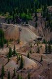 Lavoro minerario della montagna rossa Fotografia Stock