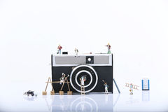 Lavoro miniatura degli uomini Fotografia Stock
