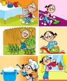 Lavoro minorile domestico royalty illustrazione gratis