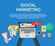 Lavoro nelle reti sociali Ottimizzazione di Search Engine Elementi e vendita di analisi dei dati di web Esperto in SEO Workpla di illustrazione di stock