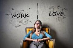 Lavoro o amore Immagine Stock Libera da Diritti