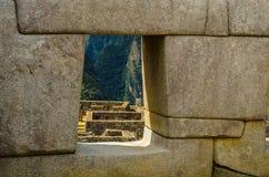 Lavoro in pietra di Machu Picchu Inka Fotografia Stock Libera da Diritti