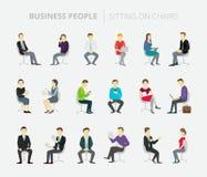Lavoro stabilito della gente che si siede sulle sedie illustrazione di stock