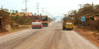 Lavoro stradale cambogiano Immagini Stock