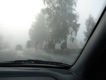 Lavoro stradale in nebbia Fotografie Stock Libere da Diritti