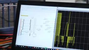 Lavoro sul computer Controlli il sistema elettrico sul computer stock footage