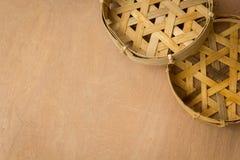 Lavoro in vimini, canestri, pesce, legno, vimine, bambù Fotografia Stock Libera da Diritti