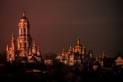 Panoramic view of the distant and near caves of the ancient Christian monastery in Kiev, Ukraine. Kiev-Pechersk Lavra. Color tonin Stock Photography