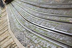 Lavra Elevador tramwaju ślad; Lisbon Zdjęcia Royalty Free