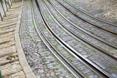 Lavra Elevador tramwaju ślad; Lisbon Obrazy Stock