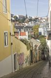 Lavra street in Lisbon with its funicular Royalty Free Stock Photo