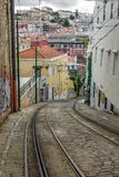 Lavra tram track in Lisbon, Portugal Royalty Free Stock Photography