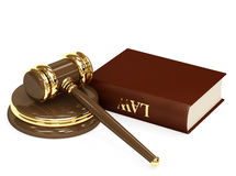Law. Symbol of justice - judicial 3d gavel. Object over white Stock Image