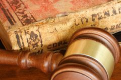 Law. Judge hammer and old legal code Royalty Free Stock Photo