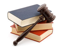Law. Books and gavel studio isolated over white Royalty Free Stock Photography