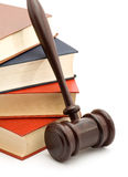 Law. Books and gavel studio isolated over white Stock Image