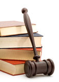Law. Books and gavel studio isolated over white Stock Photos