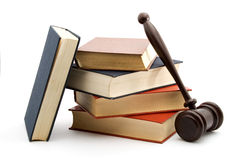 Law. Books and gavel studio isolated over white Stock Photography