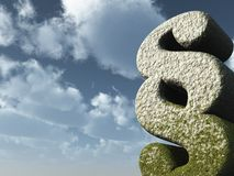 Law. Paragraph symbol rock in front of blue sky - 3d illustration Royalty Free Stock Image